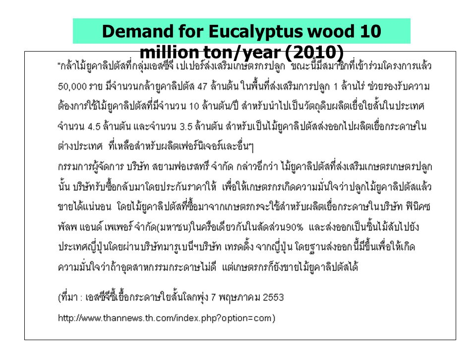Demand for Eucalyptus wood 10 million ton/year (2010)