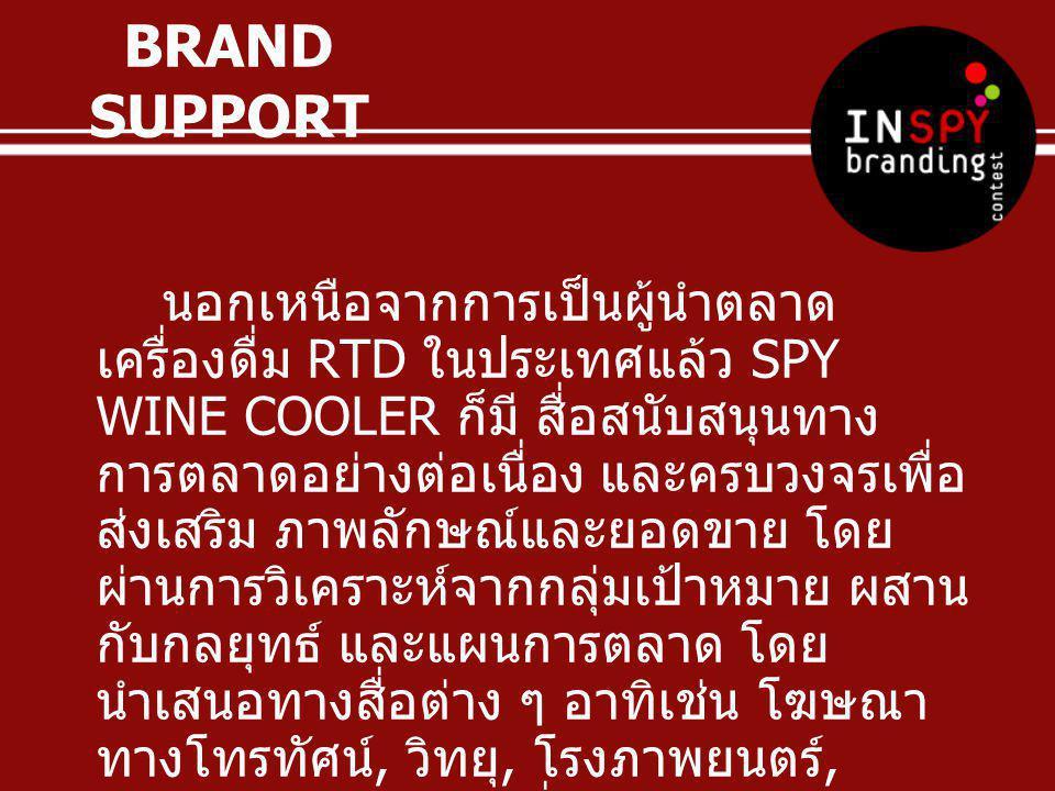 BRAND SUPPORT นอกเหนือจากการเป็นผู้นำตลาด เครื่องดื่ม RTD ในประเทศแล้ว SPY WINE COOLER ก็มี สื่อสนับสนุนทาง การตลาดอย่างต่อเนื่อง และครบวงจรเพื่อ ส่งเ