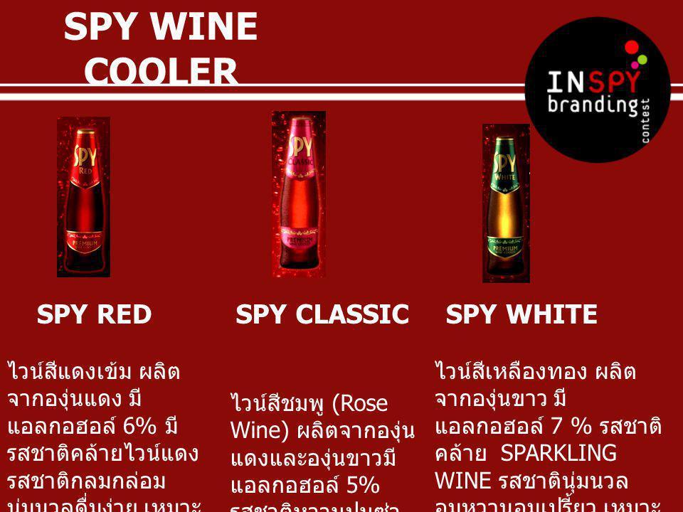 SPY BLACK ผลิตภัณฑ์ใหม่ล่าสุด ในมาดเข้มและมี เอกลักษณ์พิเศษเฉพาะตัวที่นำ BLACK GINSENG ( กระชายดำ ) โดยได้นำมา ผสมในไวน์องุ่น ผสานกับความหนัก แน่นของปริมาณแอลกอฮอล์ที่สูงถึง 7% เติมด้วย SPARKLING MINERAL WATER เพื่อเพิ่มความสดชื่นซาบซ่า ยิ่งขึ้น และมีกลิ่นหอมของไวน์เบอรี่ SPY WINE COOLER