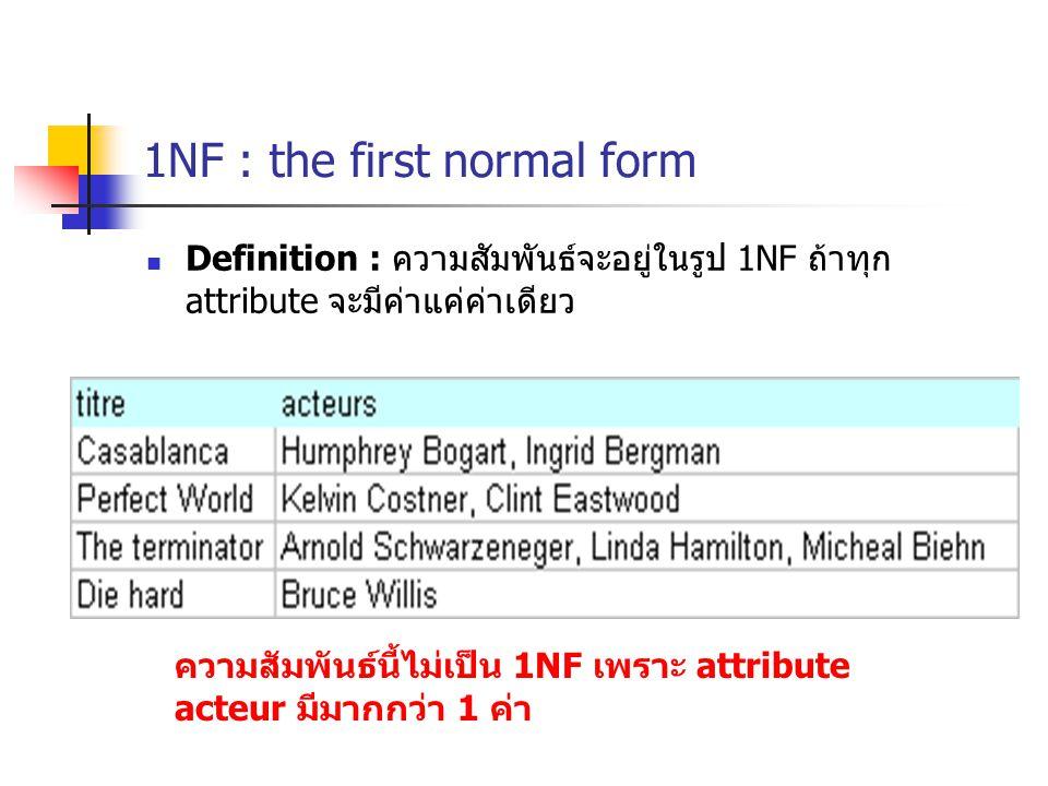 1NF : the first normal form Definition : ความสัมพันธ์จะอยู่ในรูป 1NF ถ้าทุก attribute จะมีค่าแค่ค่าเดียว ความสัมพันธ์นี้ไม่เป็น 1NF เพราะ attribute acteur มีมากกว่า 1 ค่า
