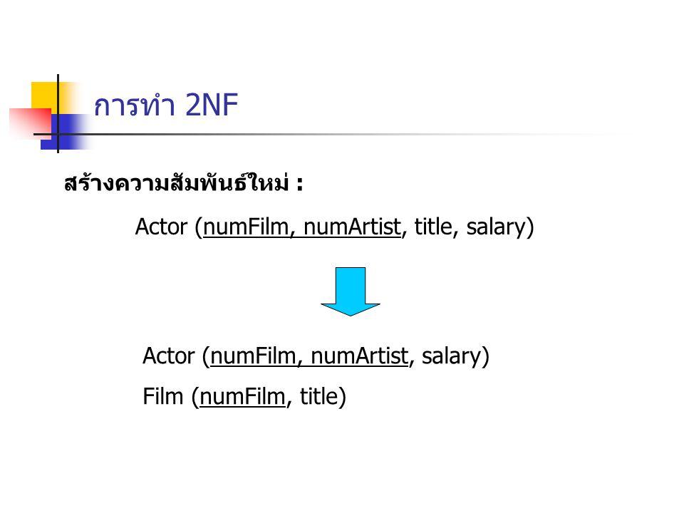 การทำ 2NF สร้างความสัมพันธ์ใหม่ : Actor (numFilm, numArtist, title, salary) Actor (numFilm, numArtist, salary) Film (numFilm, title)