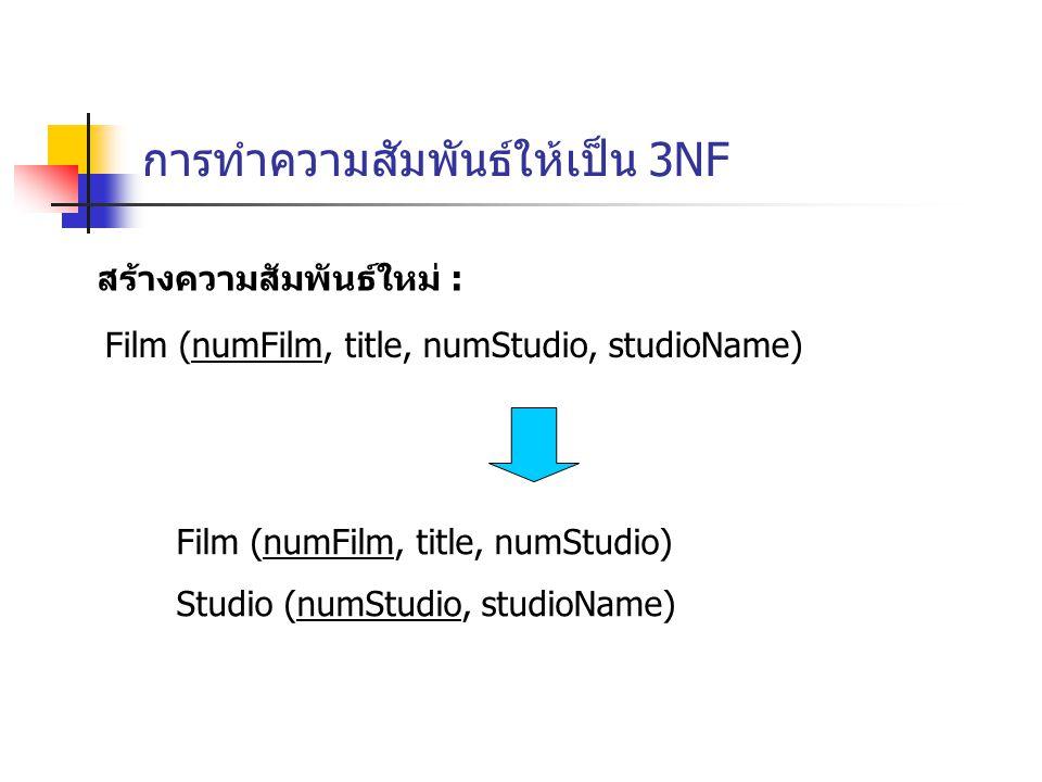 การทำความสัมพันธ์ให้เป็น 3NF สร้างความสัมพันธ์ใหม่ : Film (numFilm, title, numStudio, studioName) Film (numFilm, title, numStudio) Studio (numStudio, studioName)