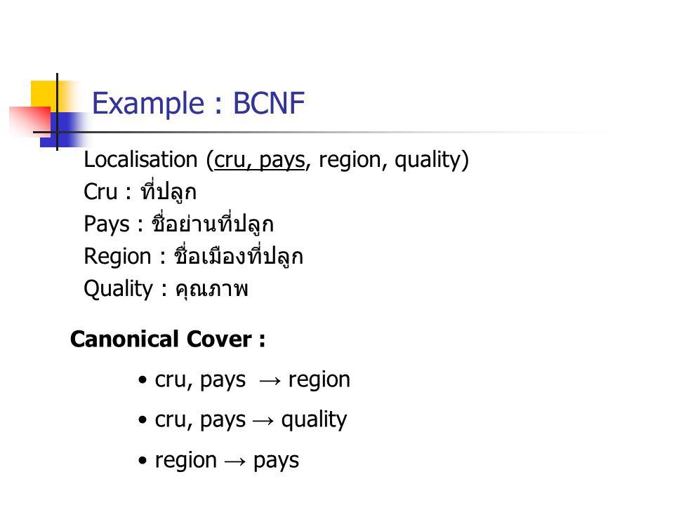 Example : BCNF Localisation (cru, pays, region, quality) Cru : ที่ปลูก Pays : ชื่อย่านที่ปลูก Region : ชื่อเมืองที่ปลูก Quality : คุณภาพ Canonical Cover : cru, pays → region cru, pays → quality region → pays