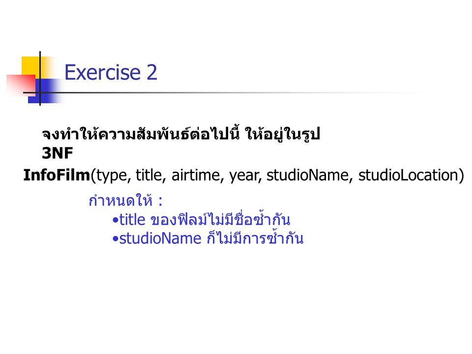 Exercise 2 InfoFilm(type, title, airtime, year, studioName, studioLocation) กำหนดให้ : title ของฟิลม์ไม่มีชื่อซ้ำกัน studioName ก็ไม่มีการซ้ำกัน จงทำให้ความสัมพันธ์ต่อไปนี้ ให้อยู่ในรูป 3NF