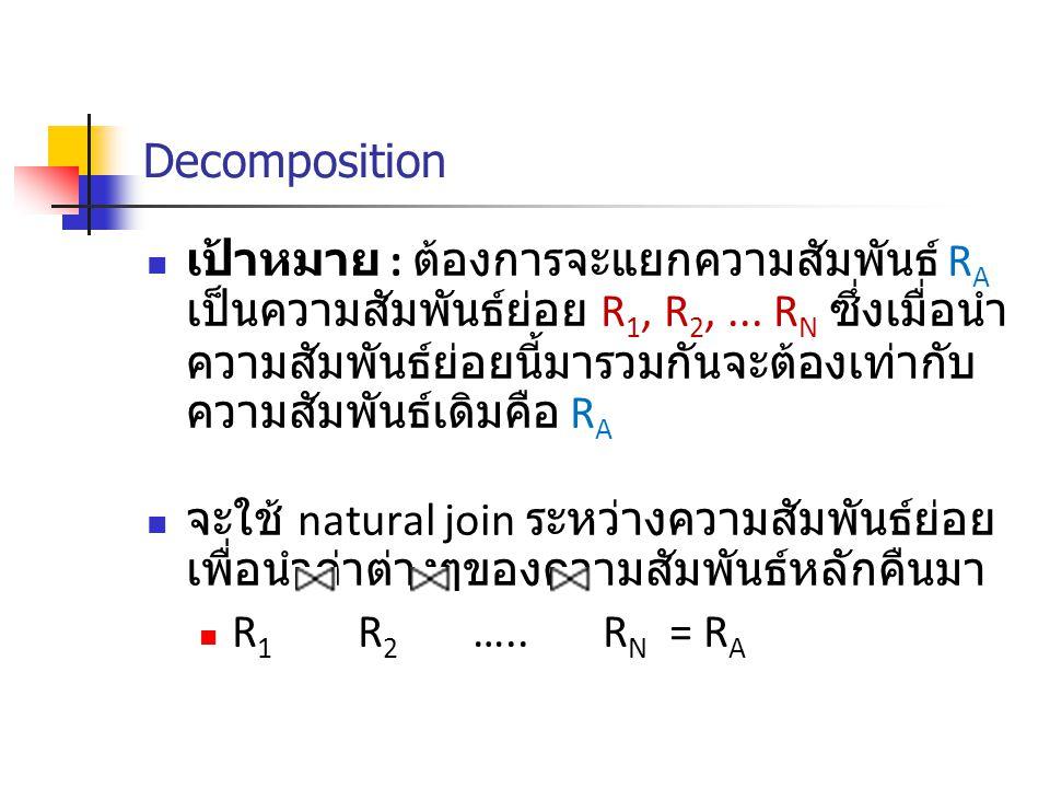 Decomposition เป้าหมาย : ต้องการจะแยกความสัมพันธ์ R A เป็นความสัมพันธ์ย่อย R 1, R 2,...