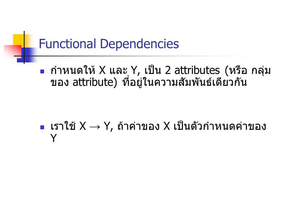 Functional Dependencies กำหนดให้ X และ Y, เป็น 2 attributes ( หรือ กลุ่ม ของ attribute) ที่อยู่ในความสัมพันธ์เดียวกัน เราใช้ X → Y, ถ้าค่าของ X เป็นตัวกำหนดค่าของ Y