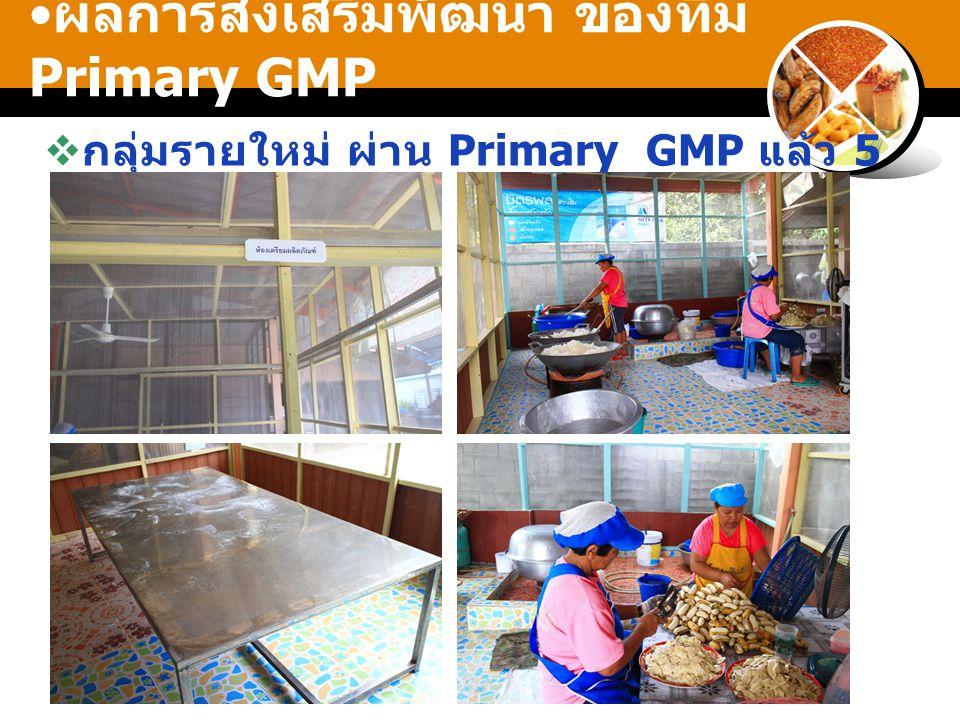 ผลการส่งเสริมพัฒนา ของทีม Primary GMP  กลุ่มรายใหม่ ผ่าน Primary GMP แล้ว 5 ราย