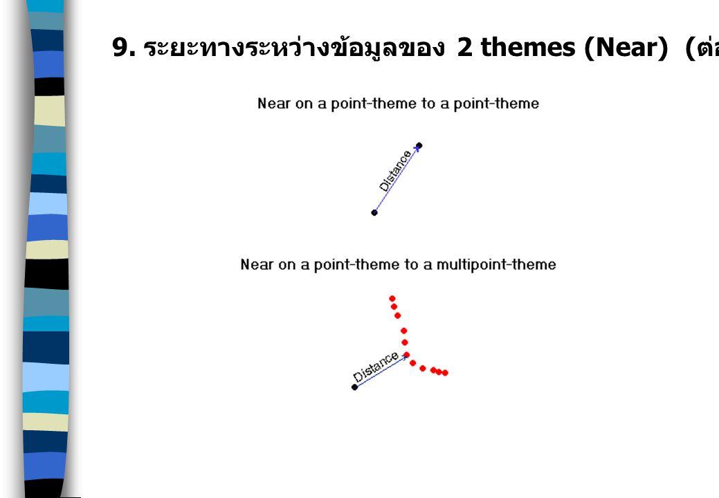 9. ระยะทางระหว่างข้อมูลของ 2 themes (Near) ( ต่อ )