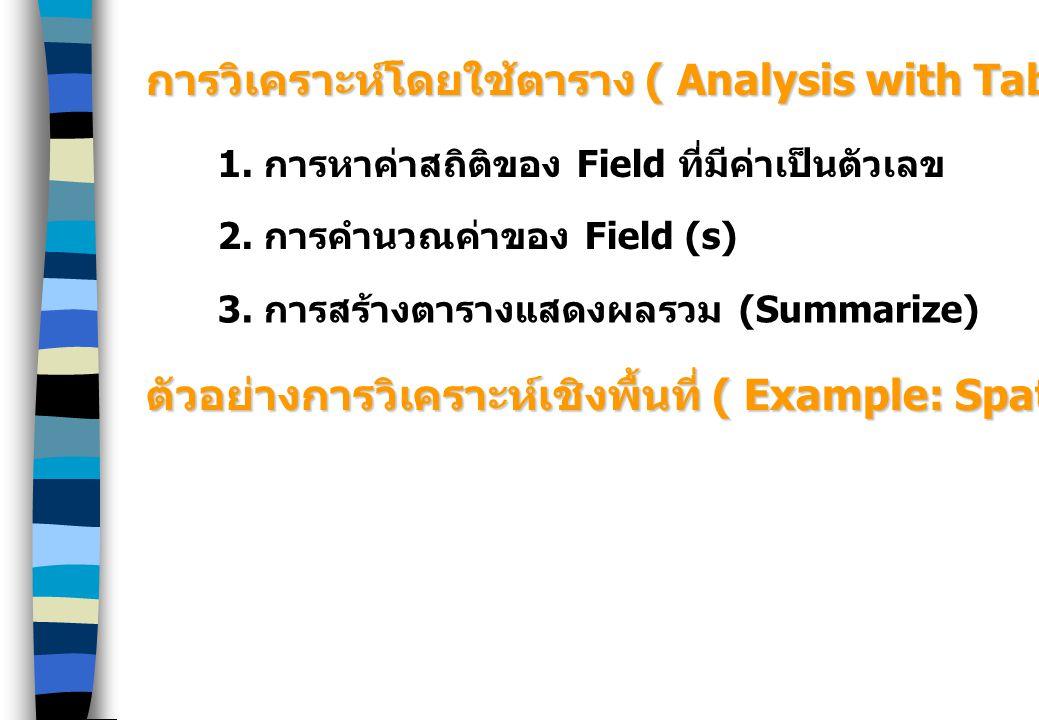 การวิเคราะห์โดยใช้ตาราง ( Analysis with Table) 1. การหาค่าสถิติของ Field ที่มีค่าเป็นตัวเลข 2. การคำนวณค่าของ Field (s) 3. การสร้างตารางแสดงผลรวม (Sum