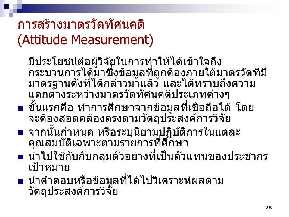 28 การสร้างมาตรวัดทัศนคติ (Attitude Measurement) มีประโยชน์ต่อผู้วิจัยในการทำให้ได้เข้าใจถึง กระบวนการได้มาซึ่งข้อมูลที่ถูกต้องภายใต้มาตรวัดที่มี มาตรฐานดังที่ได้กล่าวมาแล้ว และได้ทราบถึงความ แตกต่างระหว่างมาตรวัดทัศนคติประเภทต่างๆ ขั้นแรกคือ ทำการศึกษาจากข้อมูลที่เชื่อถือได้ โดย จะต้องสอดคล้องตรงตามวัตถุประสงค์การวิจัย จากนั้นกำหนด หรือระบุนิยามปฏิบัติการในแต่ละ คุณสมบัติเฉพาะตามรายการที่ศึกษา นำไปใช้กับกับกลุ่มตัวอย่างที่เป็นตัวแทนของประชากร เป้าหมาย นำคำตอบหรือข้อมูลที่ได้ไปวิเคราะห์ผลตาม วัตถุประสงค์การวิจัย