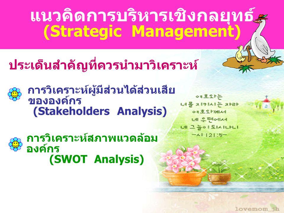 ... ภรณ์นภัส ปิยชัยกวี หัวหน้ากลุ่ม นโยบายและแผน สพท. นม.1... แนวคิดการบริหารเชิงกลยุทธ์ (Strategic Management) ประเด็นสำคัญที่ควรนำมาวิเคราะห์ การวิเ