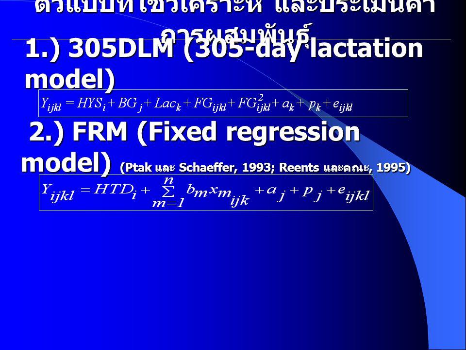 ตัวแบบที่ใช้วิเคราะห์ และประเมินค่า การผสมพันธุ์ 1.) 305DLM (305-day lactation model) 2.) FRM (Fixed regression model) (Ptak และ Schaeffer, 1993; Reents และคณะ, 1995) 2.) FRM (Fixed regression model) (Ptak และ Schaeffer, 1993; Reents และคณะ, 1995)