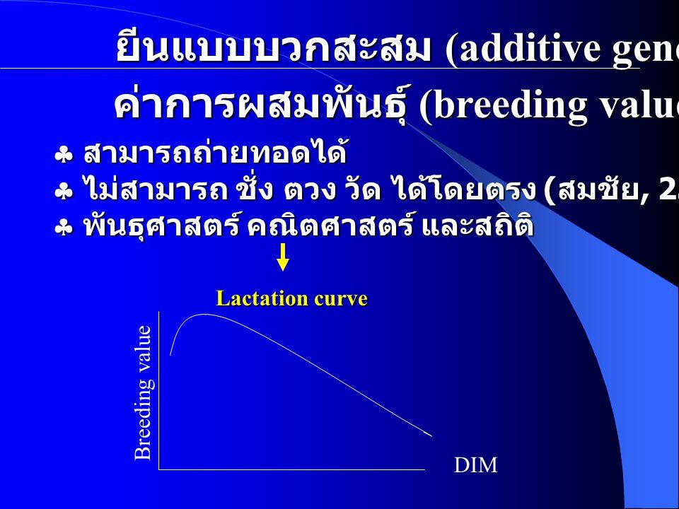 ยีนแบบบวกสะสม (additive gene)  สามารถถ่ายทอดได้  ไม่สามารถ ชั่ง ตวง วัด ได้โดยตรง ( สมชัย, 2530)  พันธุศาสตร์ คณิตศาสตร์ และสถิติ ค่าการผสมพันธุ์ (breeding value) Lactation curve DIM Breeding value