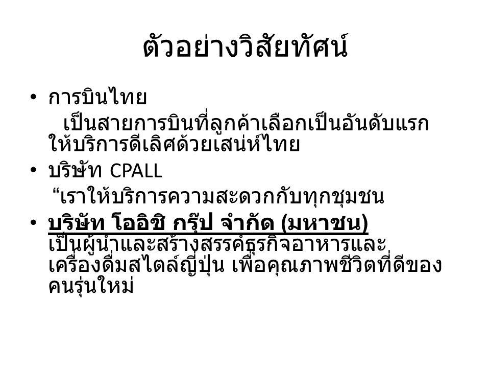 """ตัวอย่างวิสัยทัศน์ การบินไทย เป็นสายการบินที่ลูกค้าเลือกเป็นอันดับแรก ให้บริการดีเลิศด้วยเสน่ห์ไทย บริษัท CPALL """" เราให้บริการความสะดวกกับทุกชุมชน บริ"""