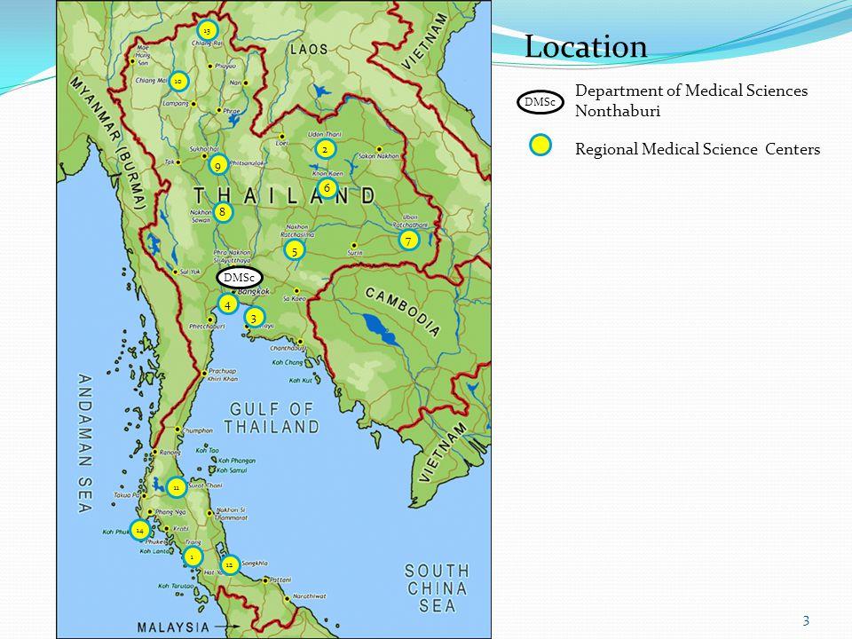 DMSc 4 3 7 5 8 9 2 6 10 13 11 14 1 12 DMSc Department of Medical Sciences Nonthaburi Regional Medical Science Centers Location 3