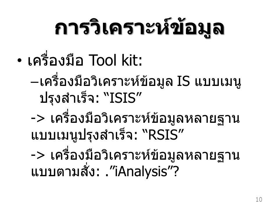 การวิเคราะห์ข้อมูล เครื่องมือ Tool kit: – เครื่องมือวิเคราะห์ข้อมูล IS แบบเมนู ปรุงสำเร็จ : ISIS -> เครื่องมือวิเคราะห์ข้อมูลหลายฐาน แบบเมนูปรุงสำเร็จ : RSIS -> เครื่องมือวิเคราะห์ข้อมูลหลายฐาน แบบตามสั่ง :. iAnalysis .