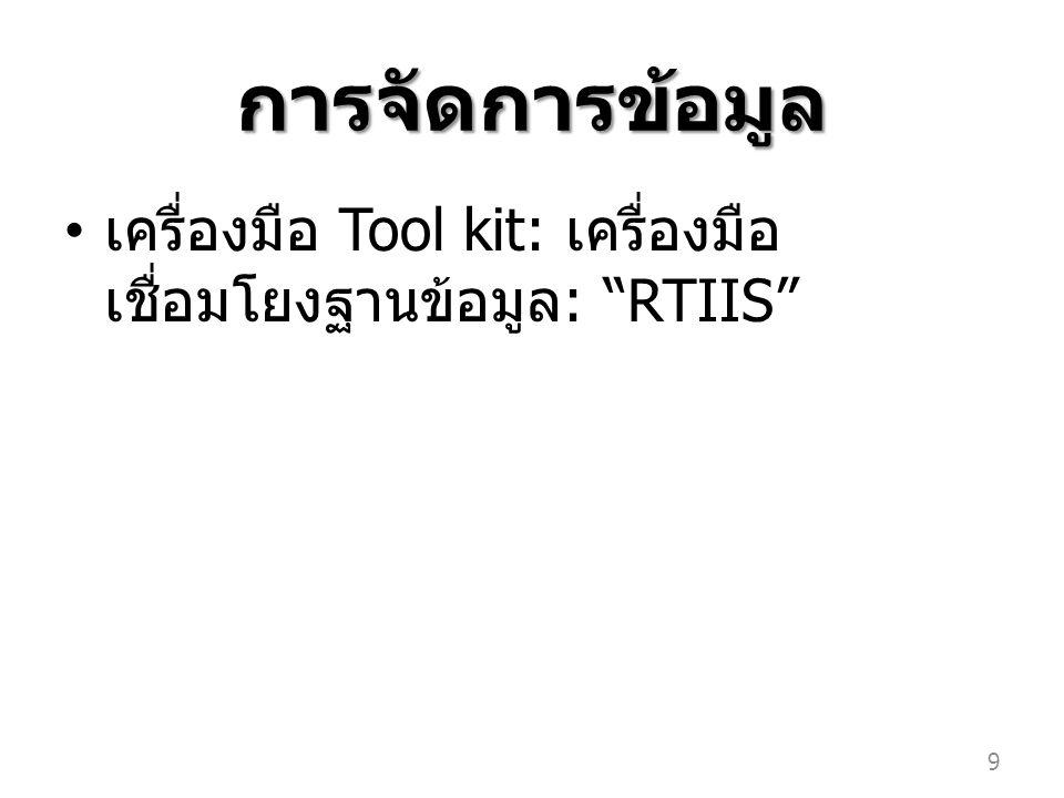 """การจัดการข้อมูล เครื่องมือ Tool kit: เครื่องมือ เชื่อมโยงฐานข้อมูล : """"RTIIS"""" 9"""