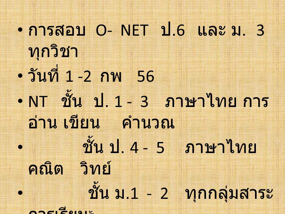 การสอบ O- NET ป.6 และ ม. 3 ทุกวิชา วันที่ 1 -2 กพ 56 NT ชั้น ป. 1 - 3 ภาษาไทย การ อ่าน เขียน คำนวณ ชั้น ป. 4 - 5 ภาษาไทย คณิต วิทย์ ชั้น ม.1 - 2 ทุกกล