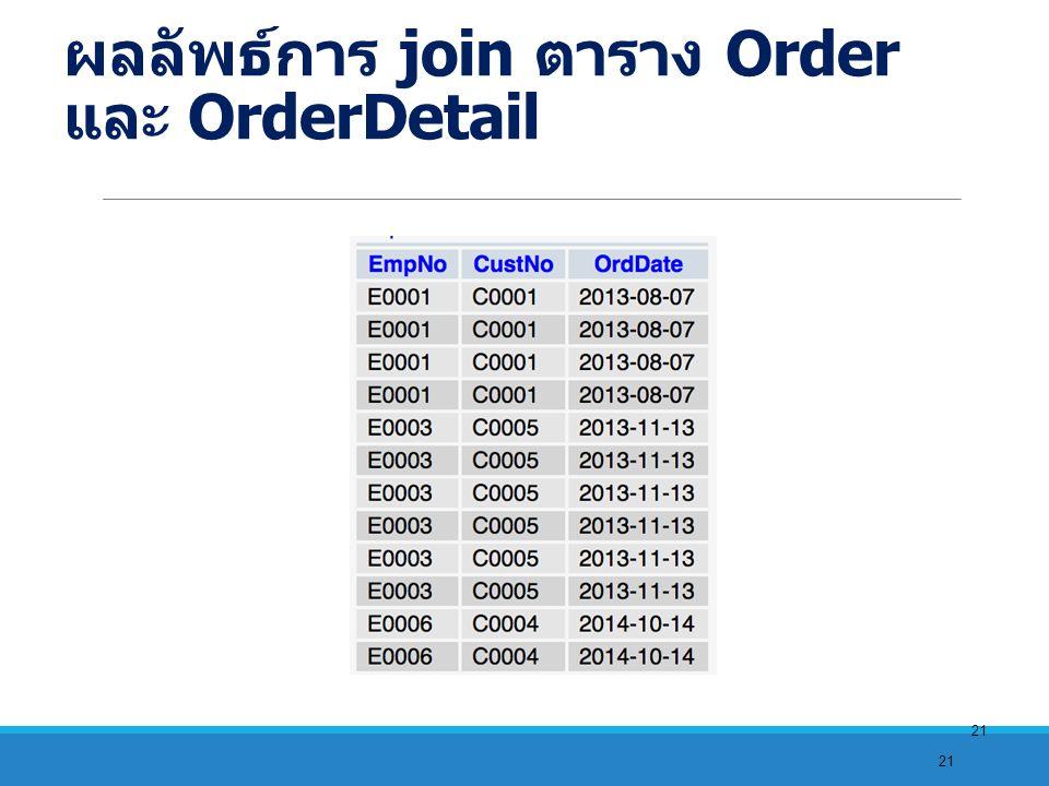 21 ผลลัพธ์การ join ตาราง Order และ OrderDetail