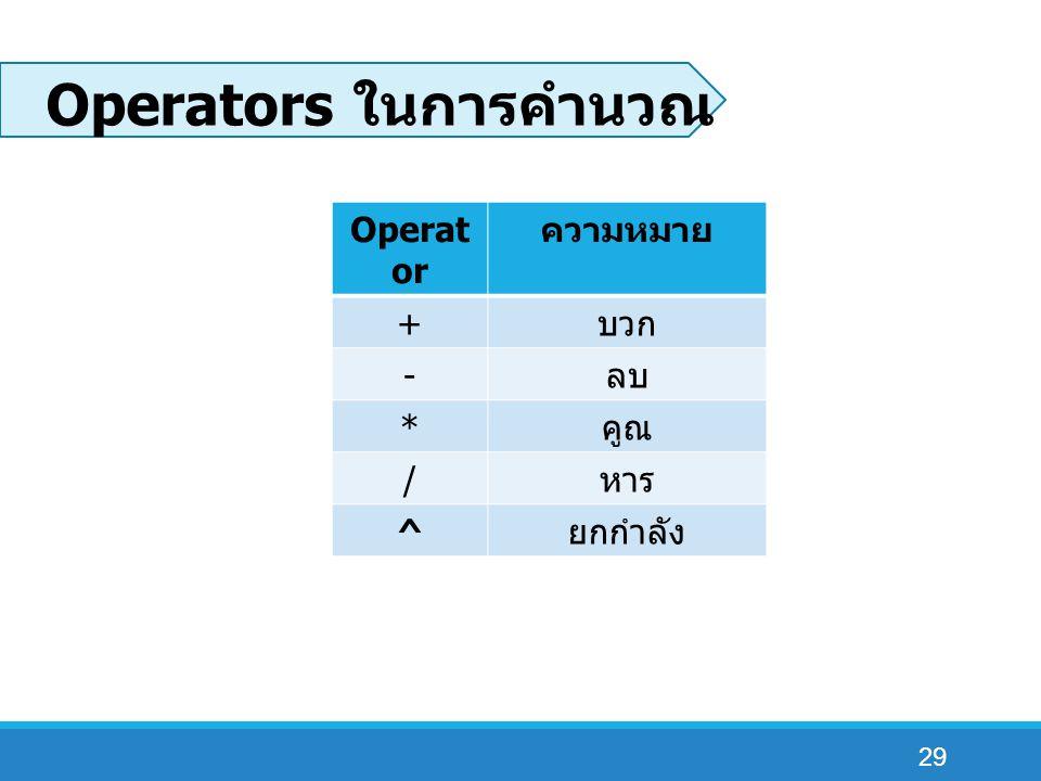 29 Operators ในการคำนวณ Operat or ความหมาย + บวก - ลบ * คูณ / หาร ^ ยกกำลัง