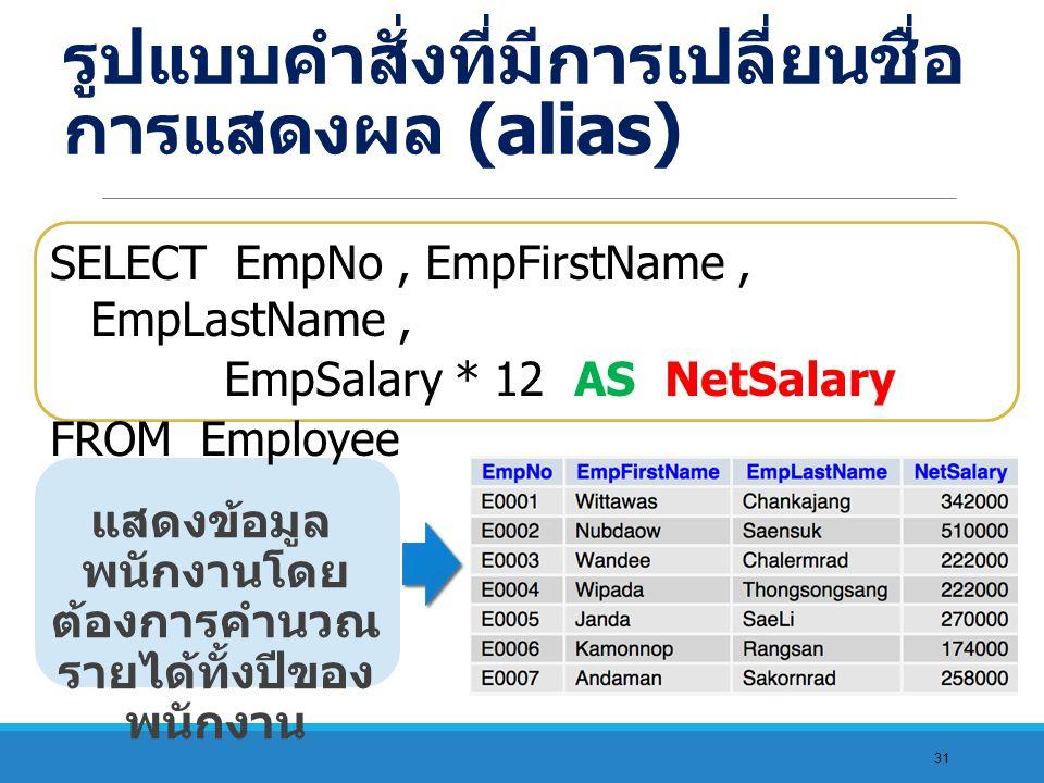 31 แสดงข้อมูล พนักงานโดย ต้องการคำนวณ รายได้ทั้งปีของ พนักงาน SELECT EmpNo, EmpFirstName, EmpLastName, EmpSalary * 12 AS NetSalary FROM Employee รูปแบบคำสั่งที่มีการเปลี่ยนชื่อ การแสดงผล (alias)