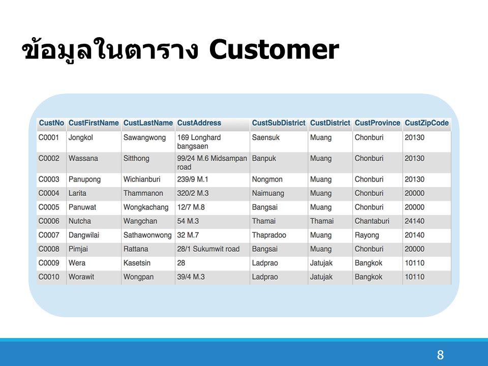 8 ข้อมูลในตาราง Customer