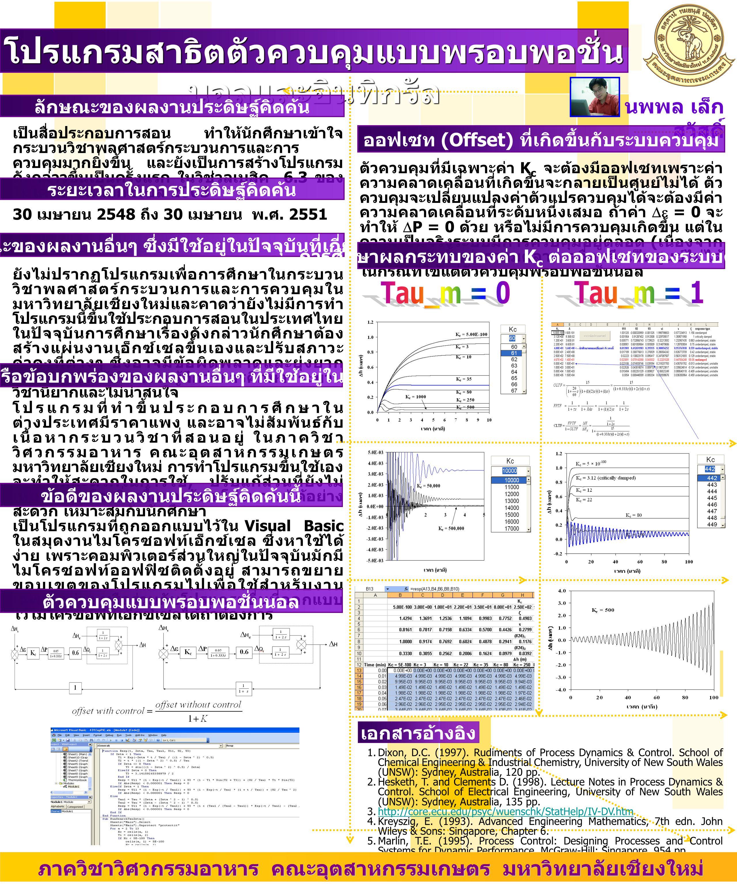 เป็นสื่อประกอบการสอน ทำให้นักศึกษาเข้าใจ กระบวนวิชาพลศาสตร์กระบวนการและการ ควบคุมมากยิ่งขึ้น และยังเป็นการสร้างโปรแกรม ดังกล่าวขึ้นเป็นครั้งแรก ในวิช่วลเบสิค 6.3 ของ ไมโครซอฟท์เอ็กซ์เซล 2003 โปรแกรมสาธิตตัวควบคุมแบบพรอบพอชั่น นอลและอินทิกรัล นพพล เล็ก สวัสดิ์ ลักษณะของผลงานประดิษฐ์คิดค้น เอกสารอ้างอิง 1.