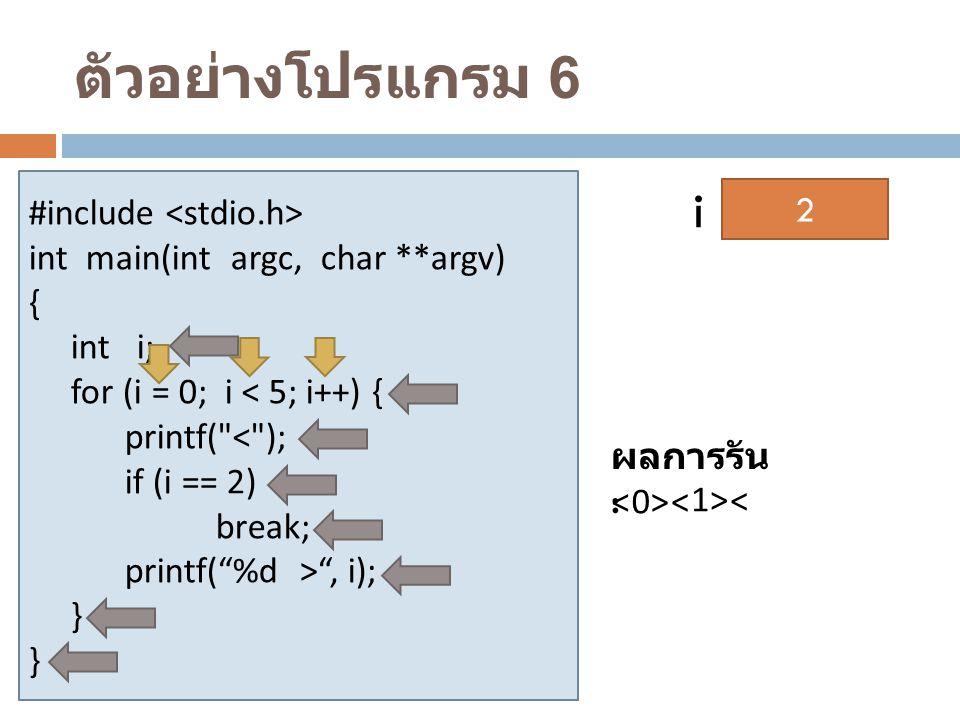ตัวอย่างโปรแกรม 6 #include int main(int argc, char **argv) { int i; for (i = 0; i < 5; i++) { printf(
