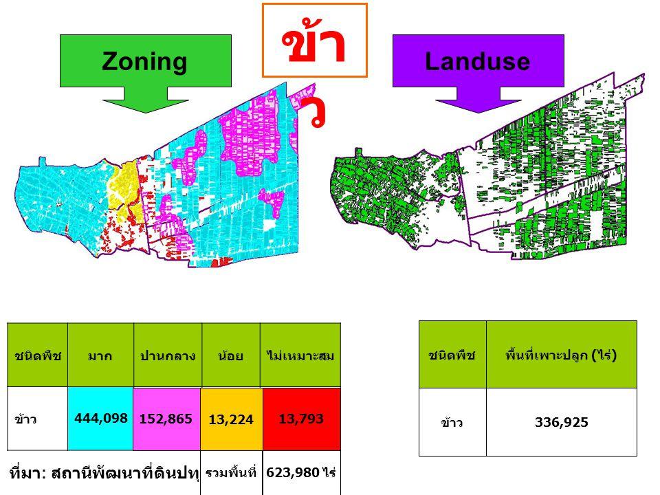 ชนิดพืชมากปานกลางน้อยไม่เหมาะสม ข้าว444,098 152,86513,22413,793 ชนิดพืชพื้นที่เพาะปลูก (ไร่) ข้าว336,925 ZoningLanduse ที่มา : สถานีพัฒนาที่ดินปทุมธาน