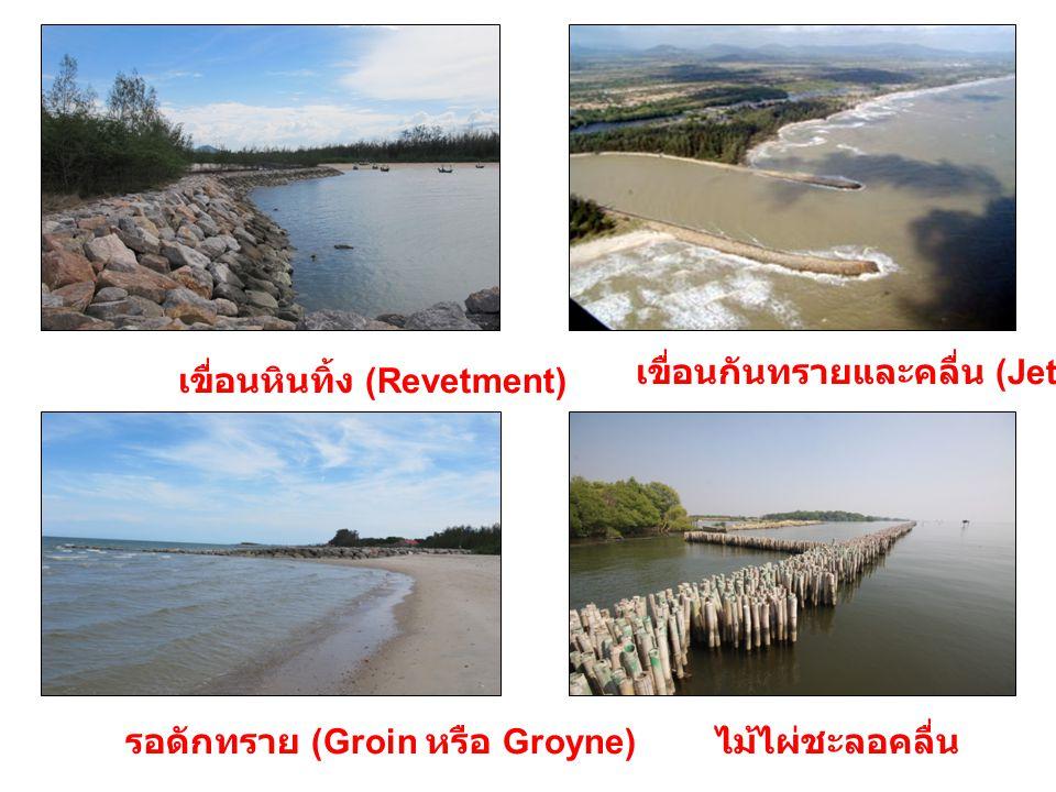 เขื่อนหินทิ้ง (Revetment) เขื่อนกันทรายและคลื่น (Jetty) รอดักทราย (Groin หรือ Groyne) ไม้ไผ่ชะลอคลื่น