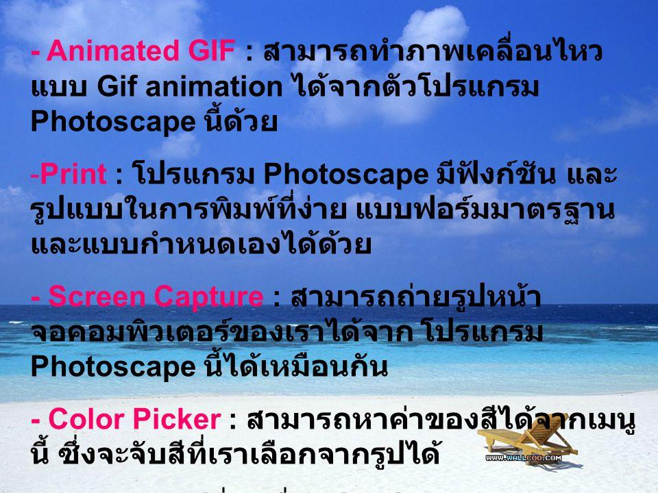 - Animated GIF : สามารถทำภาพเคลื่อนไหว แบบ Gif animation ได้จากตัวโปรแกรม Photoscape นี้ด้วย -Print : โปรแกรม Photoscape มีฟังก์ชัน และ รูปแบบในการพิม