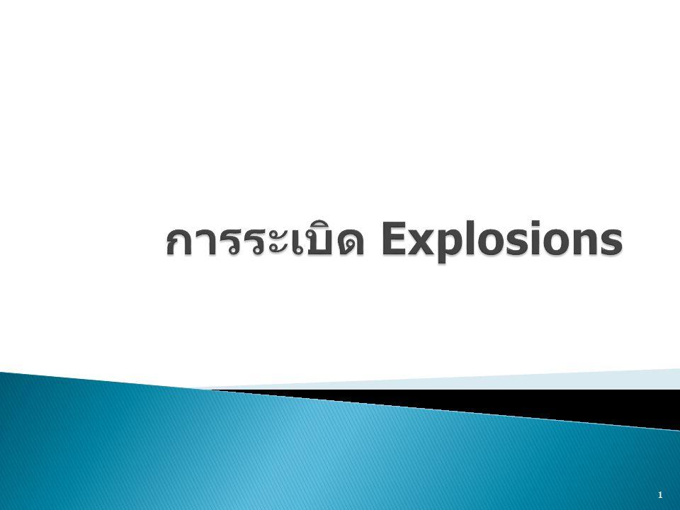  นิยาม (Definition)  คำศัพท์ (Explosion Terminology)  พื้นฐานของการระเบิด (Explosion Basics)  ชนิดของการระเบิด (Explosive Types)  คลื่นการทำลาย (Blast Damage)  แบบจำลองการระเบิดของ TNT (TNT Explosion Model)  TNT Equivalence Factors  TNT Equivalence of Bombs  การกระจายของวัตถุห่อหุ้มระเบิด (Fragmentation Devices)  ระเบิดนิวเคลียร์ (Nuclear Explosions) 2