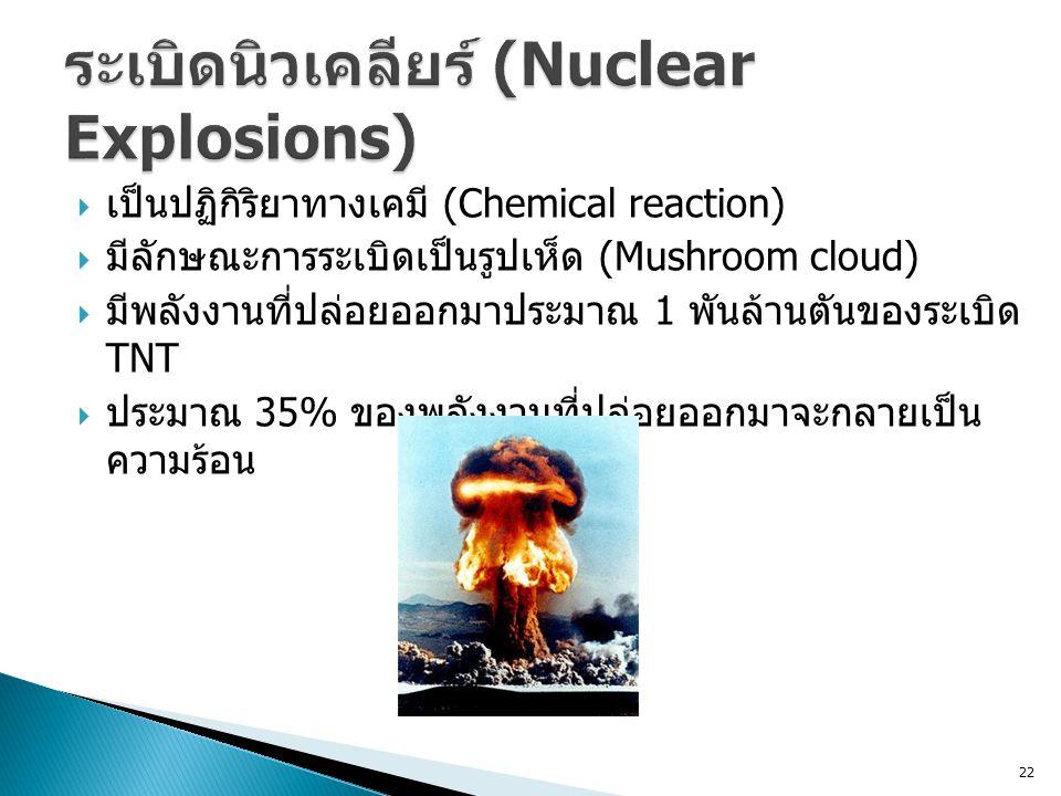22  เป็นปฏิกิริยาทางเคมี (Chemical reaction)  มีลักษณะการระเบิดเป็นรูปเห็ด (Mushroom cloud)  มีพลังงานที่ปล่อยออกมาประมาณ 1 พันล้านตันของระเบิด TNT