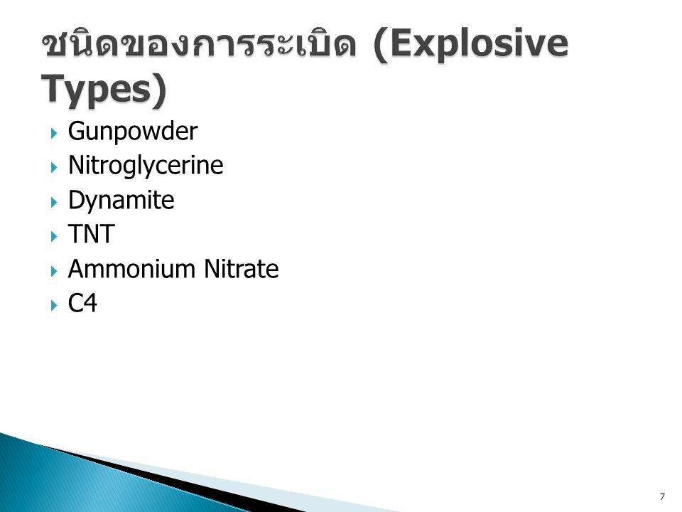  Gunpowder  Nitroglycerine  Dynamite  TNT  Ammonium Nitrate  C4 7