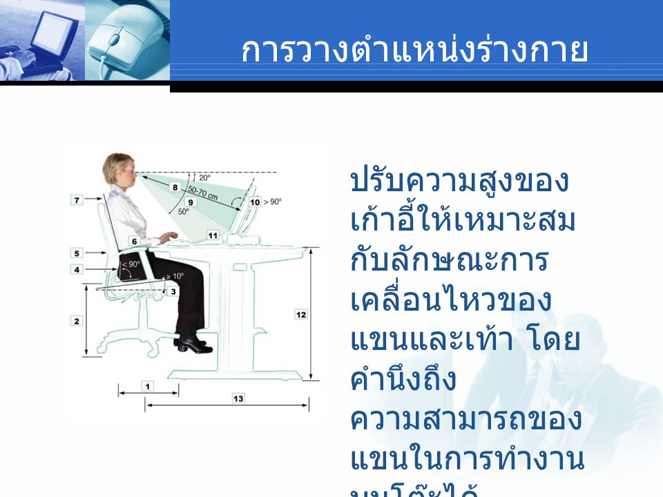 การวางตำแหน่งร่างกาย ปรับความสูงของ เก้าอี้ให้เหมาะสม กับลักษณะการ เคลื่อนไหวของ แขนและเท้า โดย คำนึงถึง ความสามารถของ แขนในการทำงาน บนโต๊ะได้ สะดวกสบ