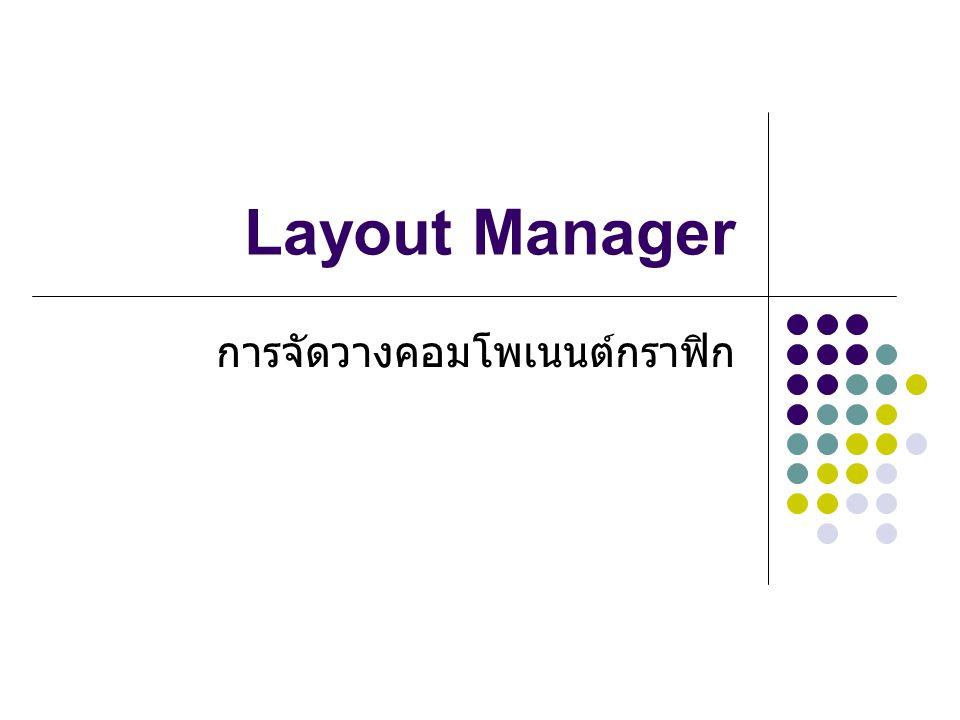 Layout Manager การจัดวางคอมโพเนนต์กราฟิก