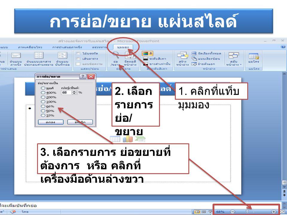 การย่อ / ขยาย แผ่นสไลด์ 1. คลิกที่แท็บ มุมมอง 2. เลือก รายการ ย่อ / ขยาย 3. เลือกรายการ ย่อขยายที่ ต้องการ หรือ คลิกที่ เครื่องมือด้านล่างขวา