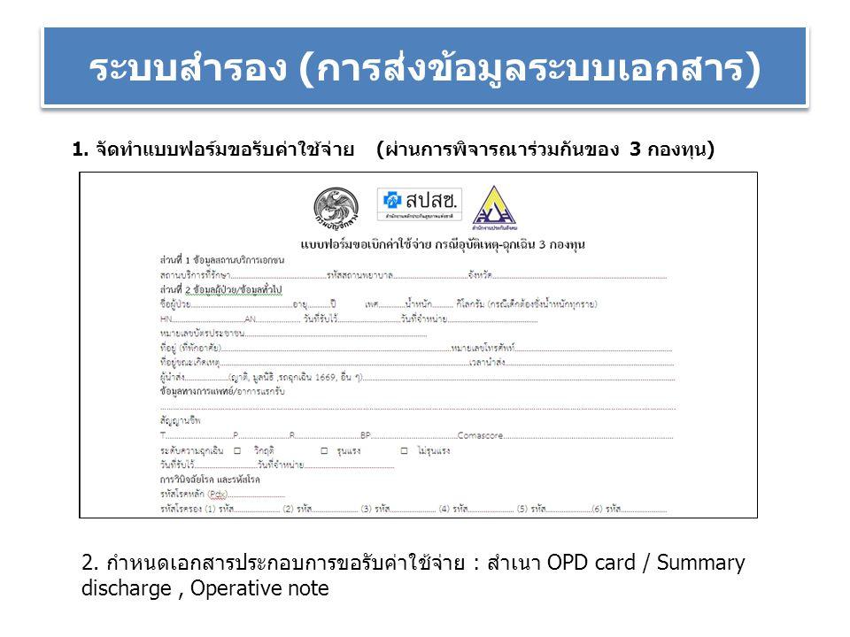 ระบบสำรอง (การส่งข้อมูลระบบเอกสาร) 1. จัดทำแบบฟอร์มขอรับค่าใช้จ่าย (ผ่านการพิจารณาร่วมกันของ 3 กองทุน) 2. กำหนดเอกสารประกอบการขอรับค่าใช้จ่าย : สำเนา