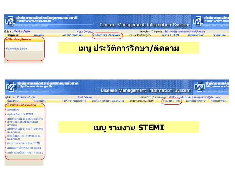 เมนู ประวัติการรักษา/ติดตาม เมนู รายงาน STEMI