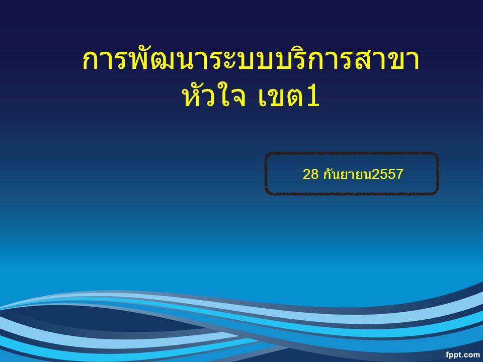 การพัฒนาระบบบริการสาขา หัวใจ เขต 1 28 กันยายน 2557