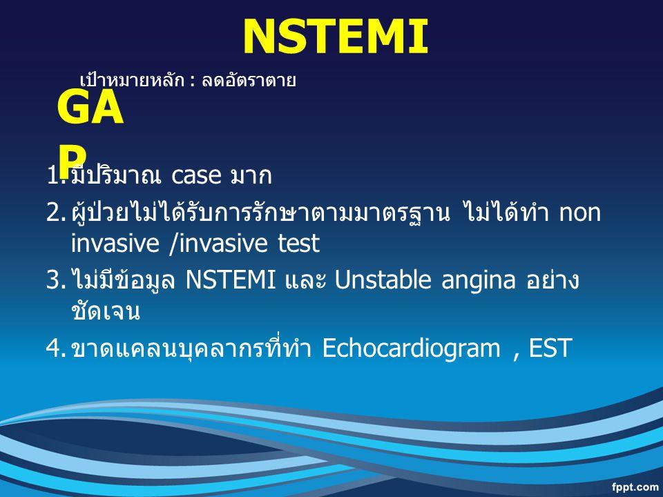 GA P 1. มีปริมาณ case มาก 2. ผู้ป่วยไม่ได้รับการรักษาตามมาตรฐาน ไม่ได้ทำ non invasive /invasive test 3. ไม่มีข้อมูล NSTEMI และ Unstable angina อย่าง ช