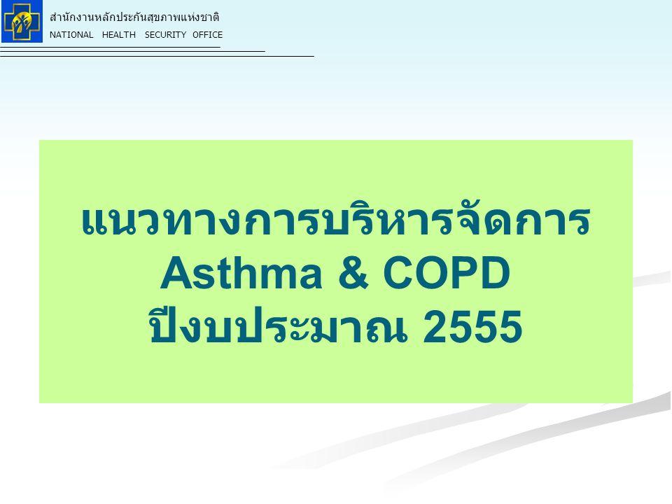 สำนักงานหลักประกันสุขภาพแห่งชาติ NATIONAL HEALTH SECURITY OFFICE แนวทางการบริหารจัดการ Asthma & COPD ปีงบประมาณ 2555