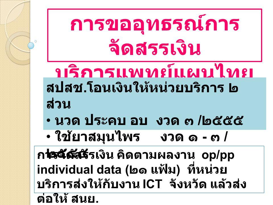การขออุทธรณ์การ จัดสรรเงิน บริการแพทย์แผนไทย สปสช.