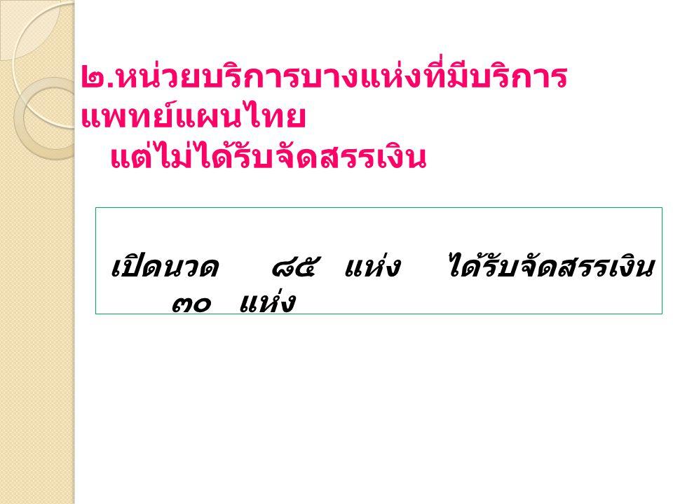 ๒. หน่วยบริการบางแห่งที่มีบริการ แพทย์แผนไทย แต่ไม่ได้รับจัดสรรเงิน เปิดนวด ๘๕ แห่ง ได้รับจัดสรรเงิน ๓๐ แห่ง