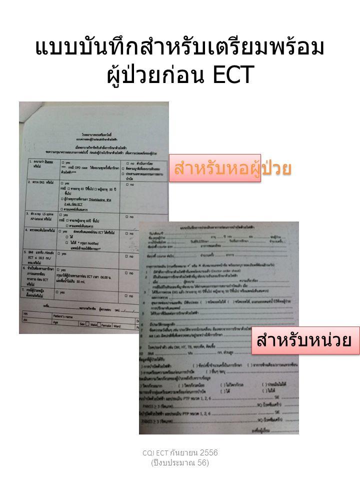 แบบบันทึกสำหรับเตรียมพร้อม ผู้ป่วยก่อน ECT CQI ECT กันยายน 2556 ( ปีงบประมาณ 56) สำหรับหอผู้ป่วย สำหรับหน่วย ECT