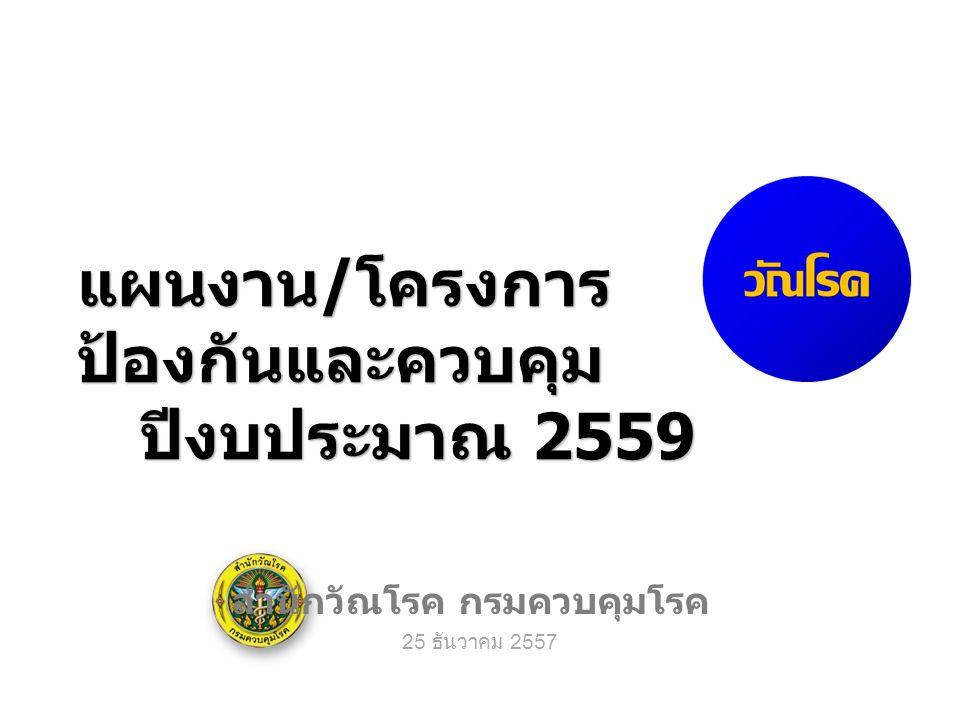 แผนงาน / โครงการ ป้องกันและควบคุม ปีงบประมาณ 2559 สำนักวัณโรค กรมควบคุมโรค 25 ธันวาคม 2557