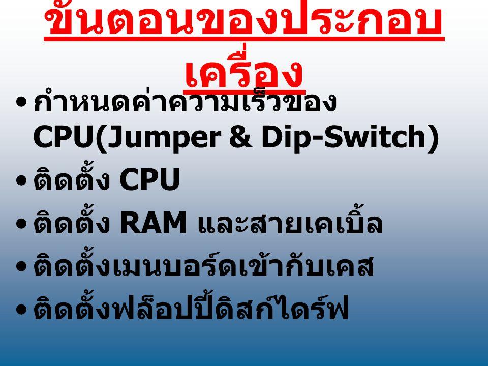 ขั้นตอนของประกอบ เครื่อง กำหนดค่าความเร็วของ CPU(Jumper & Dip-Switch) ติดตั้ง CPU ติดตั้ง RAM และสายเคเบิ้ล ติดตั้งเมนบอร์ดเข้ากับเคส ติดตั้งฟล็อปปี้ด