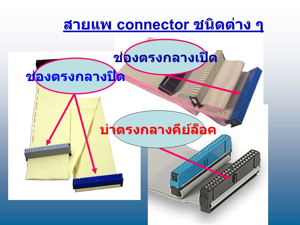 สายแพ connector ชนิดต่าง ๆ ช่องตรงกลางปิด ช่องตรงกลางเปิด บ่าตรงกลางคีย์ล็อค