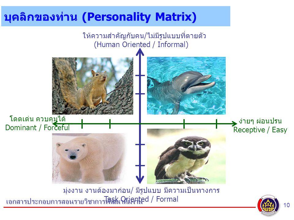 10 เอกสารประกอบการสอนรายวิชาการพัฒนาทีมงาน บุคลิกของท่าน (Personality Matrix) ง่ายๆ ผ่อนปรน Receptive / Easy มุ่งงาน งานต้องมาก่อน/ มีรูปแบบ มีความเป็นทางการ Task Oriented / Formal โดดเด่น ควบคุมได้ Dominant / Forceful ให้ความสำคัญกับคน/ไม่มีรูปแบบที่ตายตัว (Human Oriented / Informal)