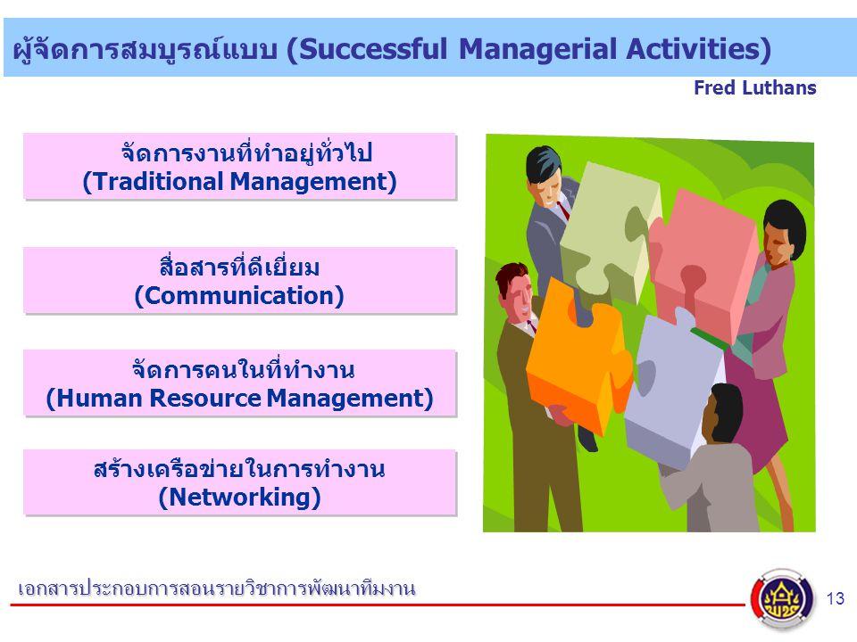 13 เอกสารประกอบการสอนรายวิชาการพัฒนาทีมงาน ผู้จัดการสมบูรณ์แบบ (Successful Managerial Activities) Fred Luthans จัดการงานที่ทำอยู่ทั่วไป (Traditional Management) สื่อสารที่ดีเยี่ยม (Communication) จัดการคนในที่ทำงาน (Human Resource Management) สร้างเครือข่ายในการทำงาน (Networking)